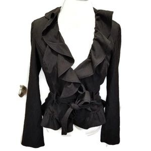 Almost Black Ruffle Cropped Tie Blazer Career